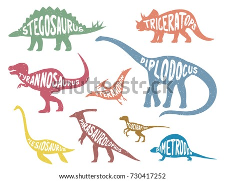 set of colorful dinosaurs with
