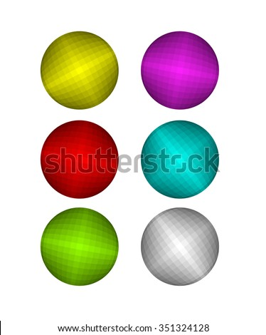 set of colorful disco ball
