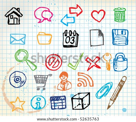 Set of colorful doodle computer icons for your webdesign on squared paper