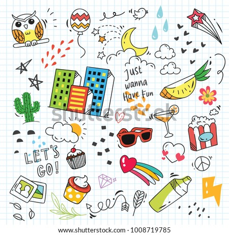 Stock Photo Set of colorful doodle on paper background