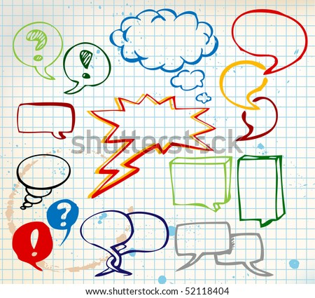 Set of colorful doodle speech bubbles on chequered paper