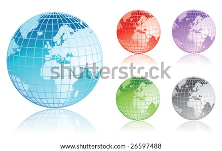 Set of colorful earth globes