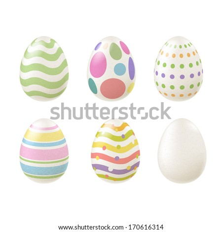 set of colorful easter eggs in