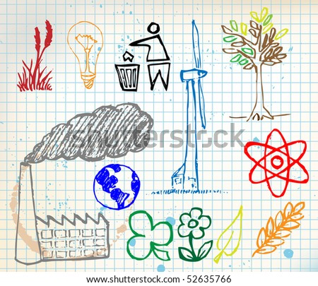 Set of colorful ecology hand-drawn icons - doodles on chequered paper (vector)