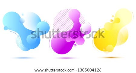 Set of colorful elements, gradient abstract shape for banner. Fluid geometric frame. Vector illustration EPS10.  #1305004126
