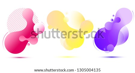 Set of colorful elements, gradient abstract shape for banner. Fluid geometric frame. Vector illustration EPS10.  #1305004135