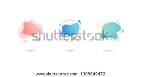 Set of colorful elements, gradient abstract shape for banner. Fluid geometric frame. Vector flat design for business cards, invitations, gift cards, flyers, brochures - Vector #1308849472