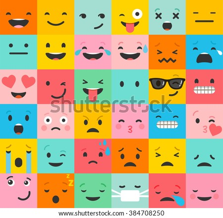 Set of colorful emoticons, emoji flat backgound pattern - Shutterstock ID 384708250