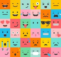 Set of colorful emoticons, emoji flat background pattern
