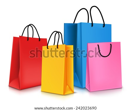 set of colorful empty shopping...