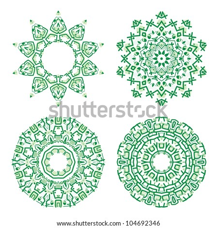 Set of colorful ethnicity round ornament, green mosaic vector illustration