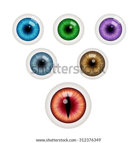 set of colorful eye balls