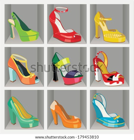 set of colorful fashion women's