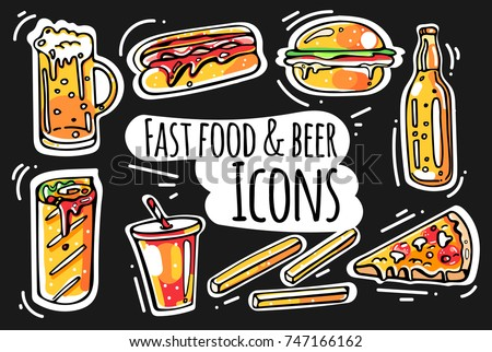 set of colorful fast food and