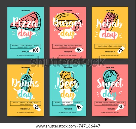 Set of colorful fast food banners. Pizza, burger, kebab, beer, sweet, drinks day promotion. Business offer for banner, poster, flyer and other promo. Cute and fun sketch sticker style.