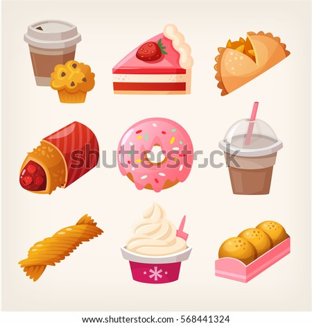 Set of colorful fast food desserts and sweets. Isolated vector fruit pies, strawberry cakes and diary products with topping