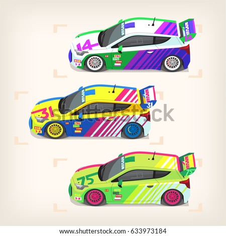 set of colorful fast motor