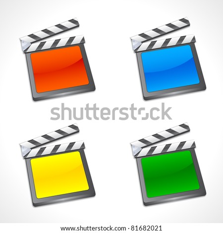 Set of Colorful Film Slate - stock vector