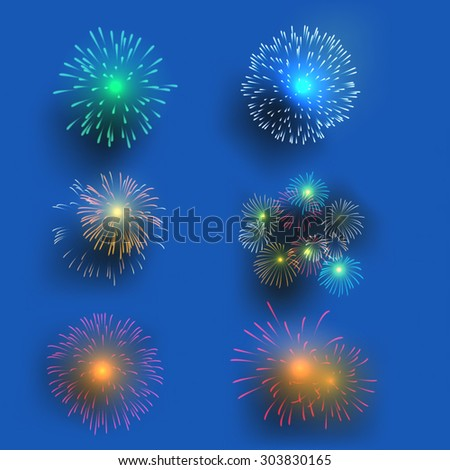 set of colorful fireworks vector