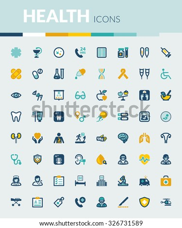 Set of colorful flat icons about health
