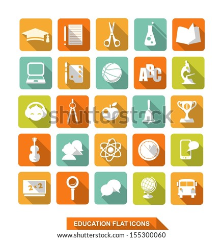 Set of colorful flat school and education icons with shadow
