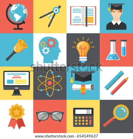 Set of colorful flat school university icons. Education and e-learning vector illustrations. Flat design icons for web and mobile services and apps.