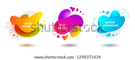 set of colorful fluid abstract geometric shapes with lines and dots for backdrops and banners #1298375434