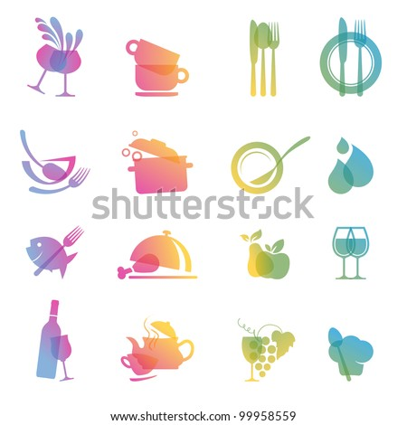 Set of colorful food and drink icons for restaurants