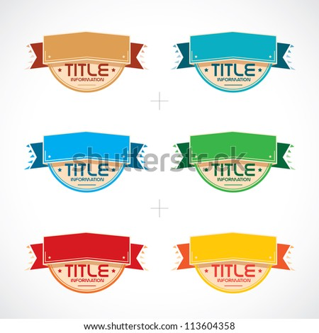 Set of Colorful Frames, Stickers, Labels, Icons, Sign, Symbol, Logo