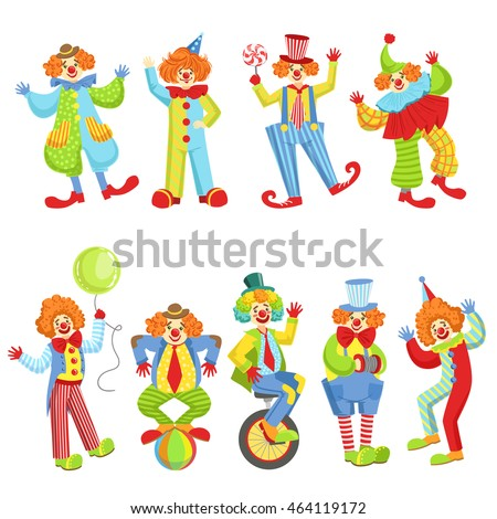 set of colorful friendly clowns