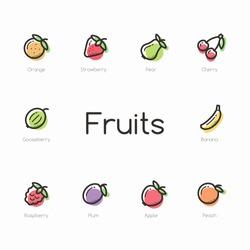 Set of colorful fruit icons isolated on light background.