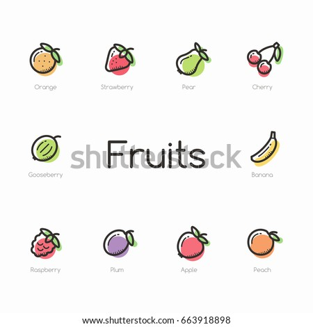 Set of colorful fruit icons isolated on light background.