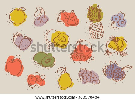 set of colorful fruits