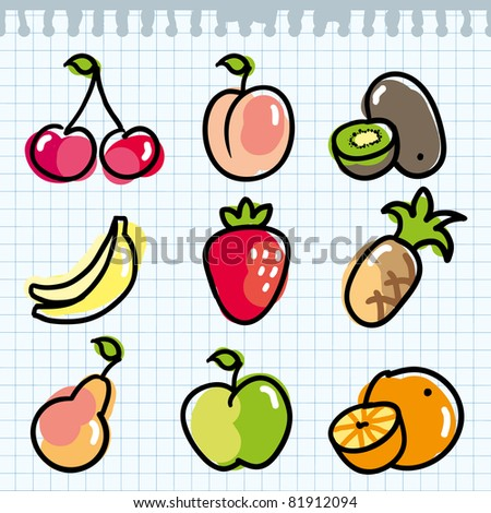 set of colorful fruits on paper page