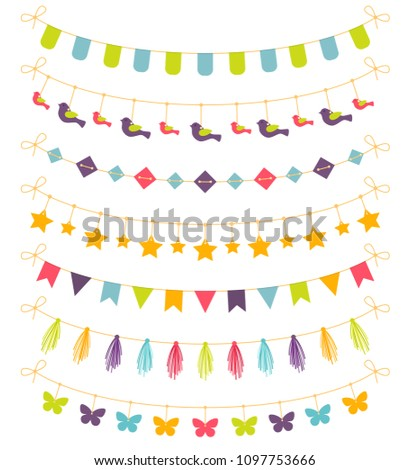 set of colorful garlands