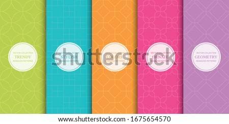 Set of colorful geometric seamless ornamental patterns - bright symmetric textures. Vector repeatable oriental backgrounds.