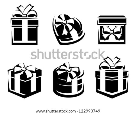 Set of colorful gift boxes. Vector