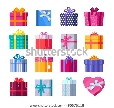 Set of colorful gift boxes with fashionable ribbons and bows isolated. Present box. Decorative stylish wrap for presents package. Modern packing product. Gifts collection web icon sign symbol. Vector