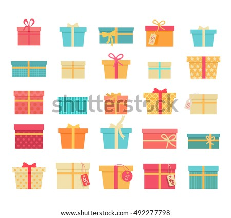 Set of colorful gift boxes with fashionable ribbons and bows isolated. Present box. Decorative stylish wrap for presents package gift. Modern packing gift product. Gifts collection web icon. Vector
