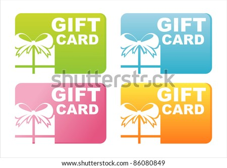 set of 4 colorful gift cards