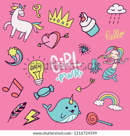Set of colorful girly doodle handdrawn cute illustration colorful and childish