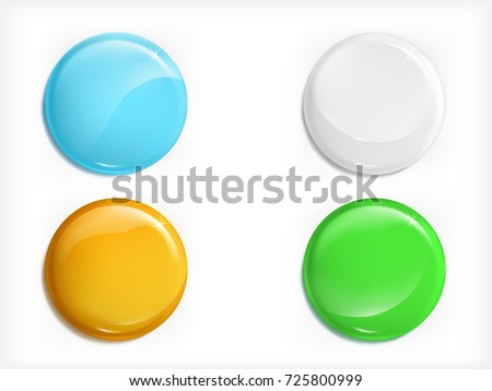 Set of colorful glossy blank round magnet buttons or icons with shadows realistic vector isolated on white background. Clear with shiny reflection graphic element for web design, special offer ad