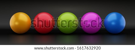 Set of Colorful Glossy Spheres Isolated on Dark Background. Toy Balls. Vector Orbs Illustration.