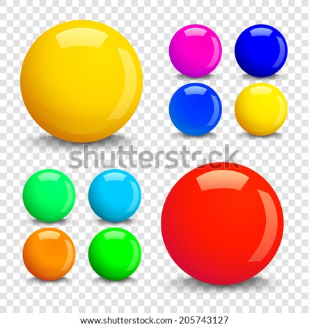 Set of colorful glossy spheres isolated on transparent background. Vector illustration