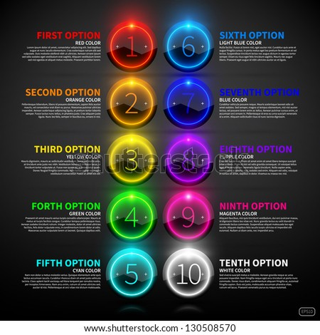 Set of colorful glowing options.