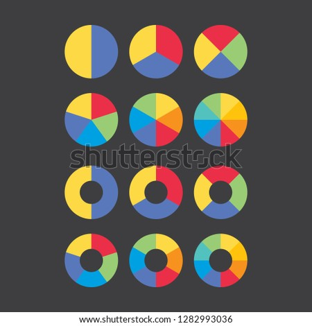 Set of colorful gradient info piecharts / segment of circle element icons for 2, 3, 4, 5, 6, 8. Modern flat design infographics template for app, ui, ux, vector eps10 isolated on black background