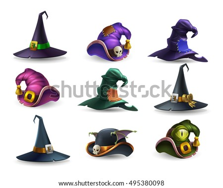 Set of colorful halloween hat and witch cap icons. Vector illustration. Stock photo ©