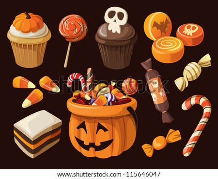 set of colorful halloween