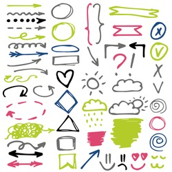 Set of colorful hand draw elements for social media. Isolated arrows, circles, squares, smiley, symbols on a white Background. Green, pink, blue, grey, black colors.