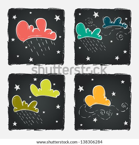 Set of colorful hand drawn doodle clouds and stars on chalkboard background. Vector illustration.